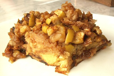 Challah Pudding with Apples, Raisins, and Almonds