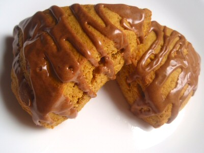 Whole Wheat Pumpkin Scones with Cinnamon Icing