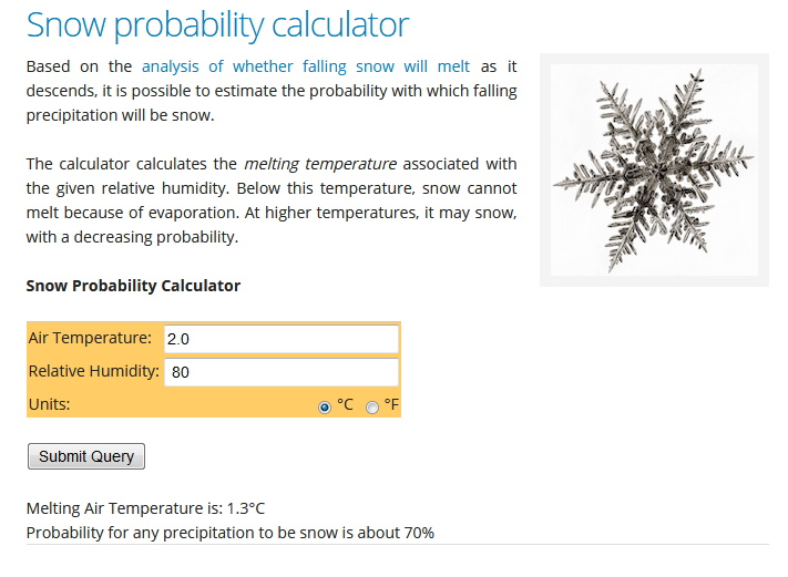 The Snow Probability Calculator